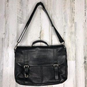 Heritage Black leather messenger bag